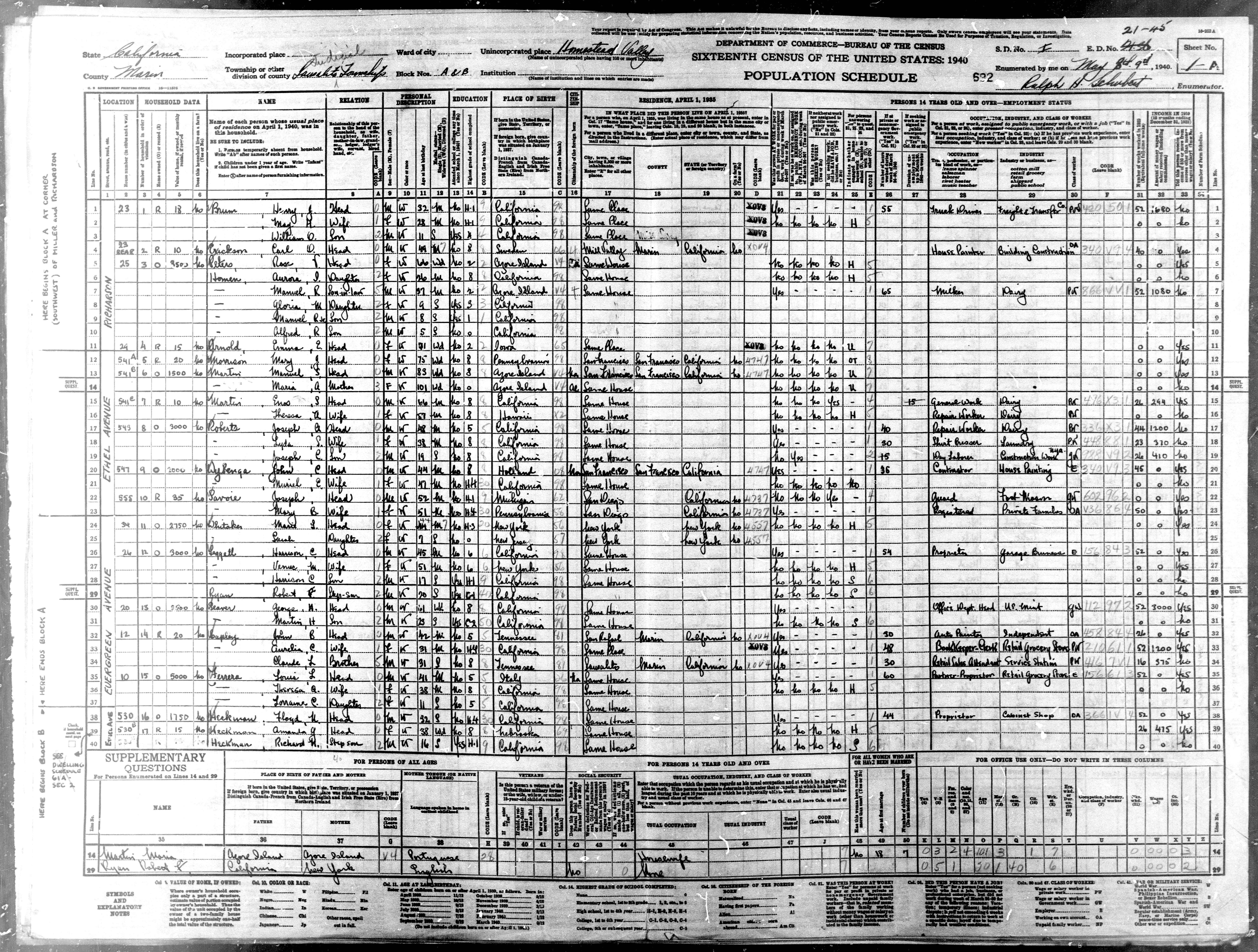 1940 Homestead Valley Census Page > click to enlarge
