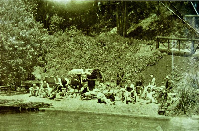 A beach party in Three Groves in the 1930's.  >  click to enlarge