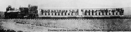 First Mill Valley and Mount Tamalpais Scenic Railway train at Mesa Station on August 26, 1896. MVU1860 - Courtesy of the Lucretia Little History Room, Mill Valley Public Library