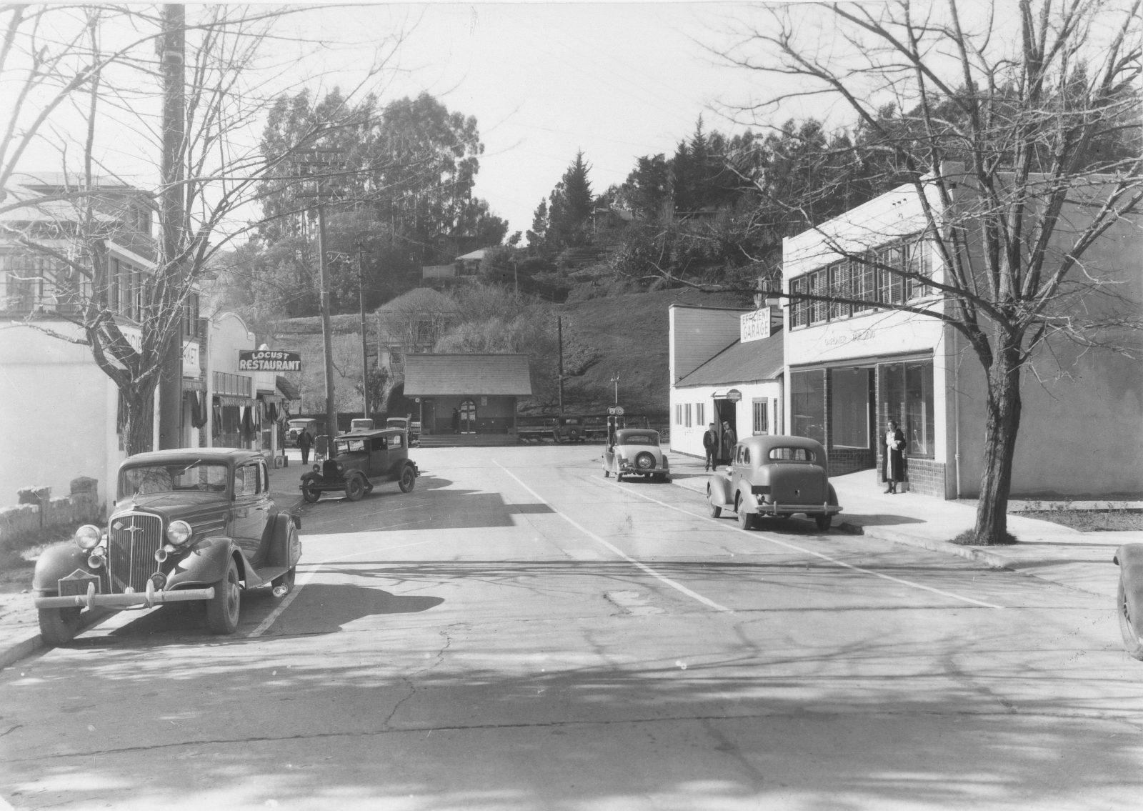 Locust Station and Locust Restaurant MVN 0306A - Courtesy of the Lucretia Little History Room, Mill Valley Public Library