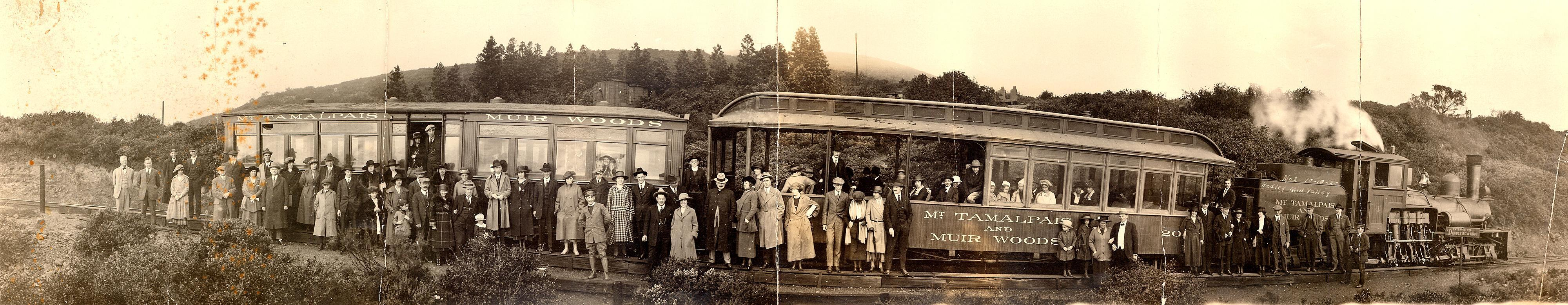 Mountain Train passengers at Mesa Station in the Double Bow Knot on the first Sunday morning train. Such photos were taken by T. C. Wohlbruck between 1915 and 1919 and sold to passengers for $1. >> click image to enlarge
