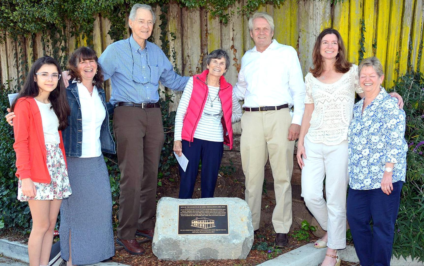 Mill Valley Historical Society Board of Directors and Members, descendants of John Thomas Reed, and City of Mill Valley dignitaries gathered for the dedication of this interpretive plaque which marks the site of the adobe home of John Reed and his family. [click to enlarge ]